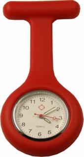 Schwestern-Uhr Krankenschwesteruhr Ansteckuhr mit Silikonhülle rot Sani-Alt