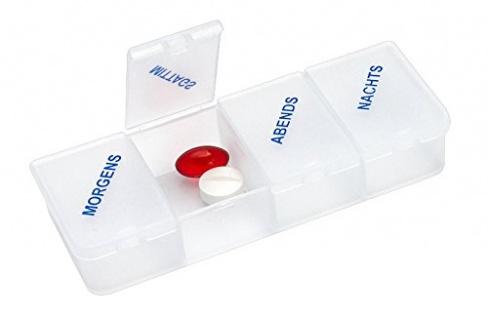 Tablettendose 4 Fächer weiß-transparent