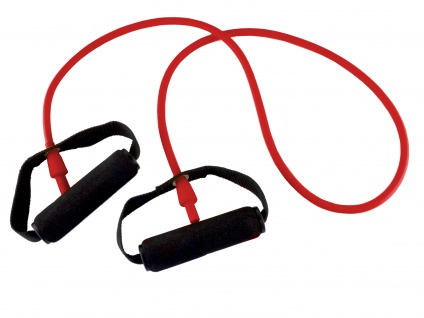 Body-Tube 125 cm rot mittel mit Schaumgriff Tube Fitnessband Sani-Alt