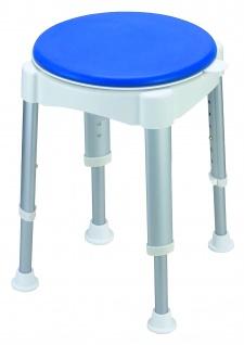 Duschhocker Duschstuhl mit gepolstertem Sitz 360° drehbar weiß/blau Sani-Alt