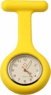 Schwestern-Uhr Krankenschwesteruhr Ansteckuhr mit Silikonhülle gelb Sani-Alt