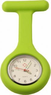Schwestern-Uhr Krankenschwesteruhr Ansteckuhr mit Silikonhülle grün Sani-Alt
