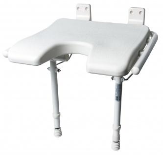 """Duschklappsitz """" Extra"""" mit Stützbein und Hygieneausschnitt Sani-Alt"""