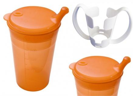 Trinkbecher-Set Tee und Brei, kurzes Mundstück, mit Halter orange Sani- Alt
