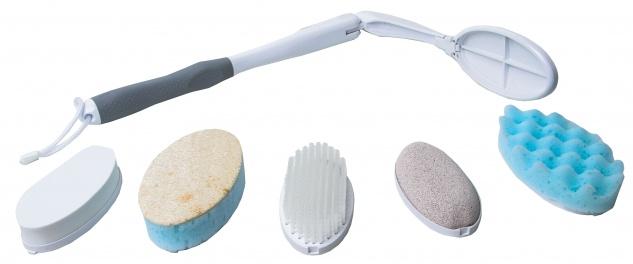 Körperpflege-SET mit extra langem Griff und 5 Aufsätzen Waschhilfe Sani-Alt