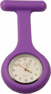 Schwestern-Uhr Krankenschwesteruhr Ansteckuhr mit Silikonhülle violett Sani-Alt