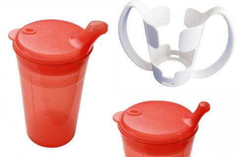 Trinkbecher-Set Tee und Brei, kurzes Mundstück, mit Halter rot Sani- Alt