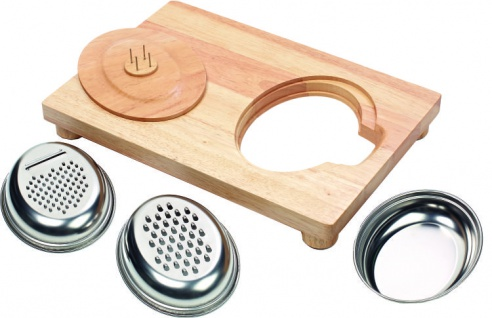 Küchenbrett HOLZ einhändig bedienbar aus Gummibaumholz Arbeitsstation Sani-Alt