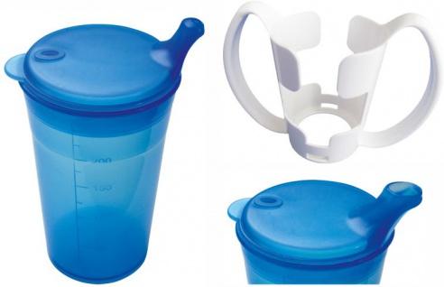 Trinkbecher-Set Tee und Brei mit Halter, kurzes Mundstück, blau Sani- Alt