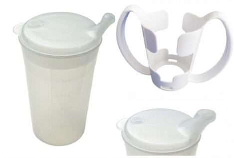 Trinkbecher-Set Tee und Brei, kurzes Mundstück, mit Halter transparent Sani- Alt