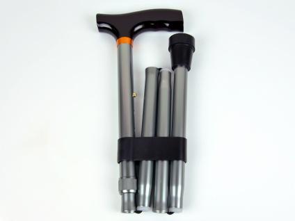 Gehstock, Faltstock verstellbar 5 fach, Aluminium, Grau - Matt Sani-Alt
