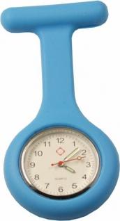 Schwestern-Uhr Krankenschwesteruhr Ansteckuhr mit Silikonhülle hellblau Sani-Alt