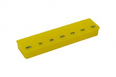 Pillendose Transparent/Gelb Tablettendose Pillenbox 7Tage, 7 Fächer Sani-Alt
