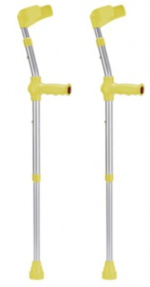 Kinder-Unterarmgehstützen Paar Leichtmetall mit Reflektoren, GELB Sani-Alt