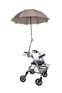 Rollatorschirm BEIGE Regenschirm Sonnenschirm Schirm inkl. Befestigung Rolko