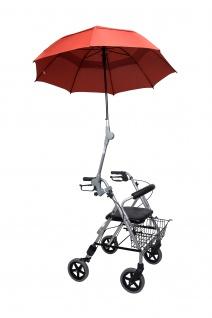 Rollatorschirm ROT/BRAUN Regenschirm Sonnenschirm inkl. Befestigung Sani-Alt