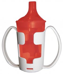 Trinkbecher-Set Tee und Brei, langes Mundstück, mit Halter rot Sani-Alt