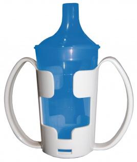 Trinkbecher-Set Tee und Brei mit Halter, langes Mundstück, blau Sani-Alt