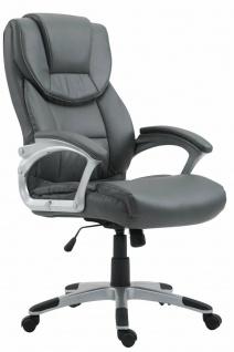 XL Bürostuhl 180 kg belastbar grau Kunstleder Chefsessel Computerstuhl Drehstuhl