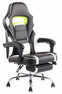Bürostuhl 136kg belastbar schwarz weiß Kunstleder Chefsessel Fußablage Stütze