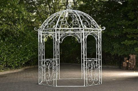 Pavillon Eisen antik weiß Rankhilfe stabil Pergola Rosenbogen Rankgitter design