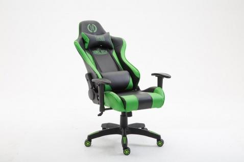 Bürostuhl 136 kg belastbar Chefsessel Zocker Gaming Gamer sportlich schwarz grün