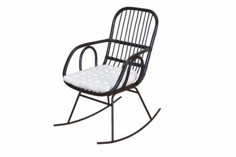 Schaukelstuhl schwarz inkl. Kissen Auflage Rattansessel Relaxsessel Korbsessel