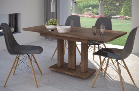 Säulentisch nußbaum 120 cm edler Esstisch Holz ausziehbar modern design günstig