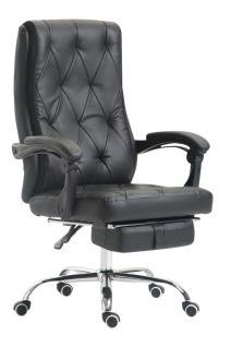 Chefsessel 136 kg belastbar schwarz Kunstleder Bürostuhl Fußablage modern design