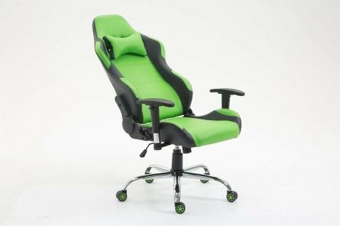 XL Bürostuhl 136 kg belastbar Kunstleder schwarz/grün Chefsessel Gamer Zocker - Vorschau 5