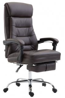 XL Chefsessel belastbar 136kg Kunstleder braun Bürostuhl Fußablage modern design