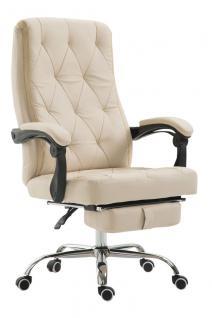 Chefsessel 136 kg belastbar creme Kunstleder Bürostuhl Fußablage modern design