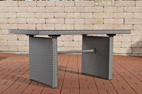 Tisch grau Gartentisch Outdoor Garten Rattan Sofa-Tisch Rattantisch Glastisch - Vorschau 3