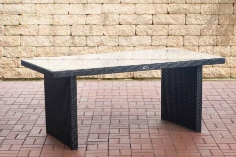 Gartentisch Polyrattan schwarz 180 cm Terrassentisch Balkon Glastisch Esstisch