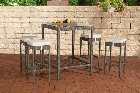 Polyrattan Gartenbar grau Bar-Set Essgruppe Gartengarnitur Barhocker Bartisch