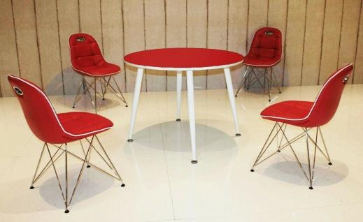 Tischgruppe rot weiß Essgruppe Esszimmergruppe Schalenstuhl modern design A8