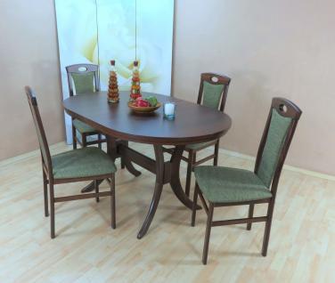 Tischgruppe Buche massivholz nuss dunkel olive Esstisch rund Auszug Stuhlset