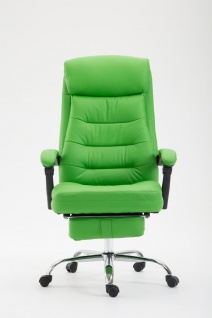 XL Chefsessel belastbar 136kg Kunstleder grün Bürostuhl Fußablage modern design - Vorschau 2