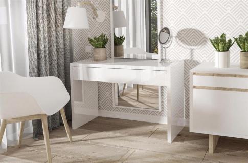 moderner Schreibtisch Hochglanz weiß edler Computertisch Schreibkommode design