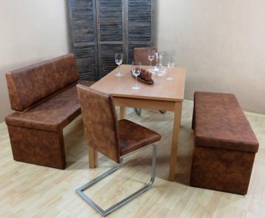 Dinninggruppe Buche cognac Essgruppe Hockerbank 2 x Freischwinger Esstisch