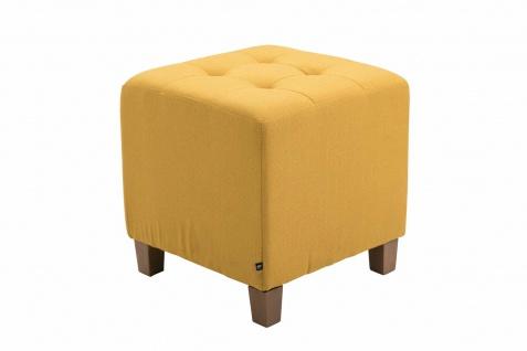 Sitzhocker Stoffbezug gelb Sitzwürfel Sitzbank Hockerbank antik Vintage Ottomane