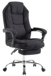Bürostuhl schwarz Stoffbezug Chefsessel klassisch Fußablage hochwertig modern