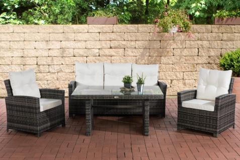 Polyrattan Gartengarnitur grau meliert / cremeweiß Sitzgruppe Essgruppe Garten