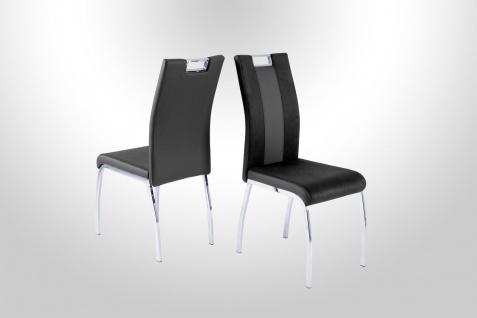 4 x Stühle schwarz grau Kufe Chrom Stuhlset Esszimmer Küche günstig preiswert
