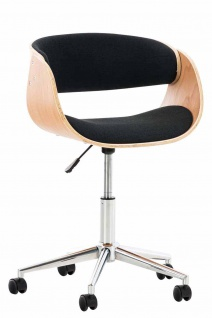 Bürostuhl Holzrahmen Stoffbezug natur schwarz Sitzsachale Drehstuhl modern