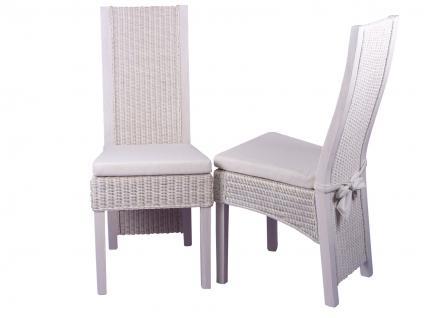 2er Set Rattansessel weiß massivholz Pinie Rattanstuhl Stuhl günstig preiswert