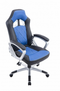 XL Bürostuhl 180kg belastbar schwarz blau Kunstleder Chefsessel schwere Personen