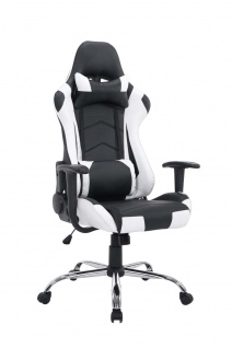 XL Bürostuhl schwarz weiß 150kg belastbar Chefsessel Kunstleder Gaming Zocker