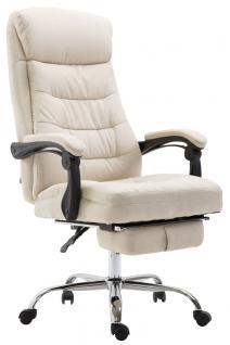 XL Bürostuhl belastbar 136kg Stoffbezug creme Chefsessel Fußstütze modern design