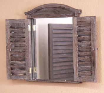 Spiegel massiv antik braun Wandspiegel Türen aufklappbar Landhaus Lamellen neu